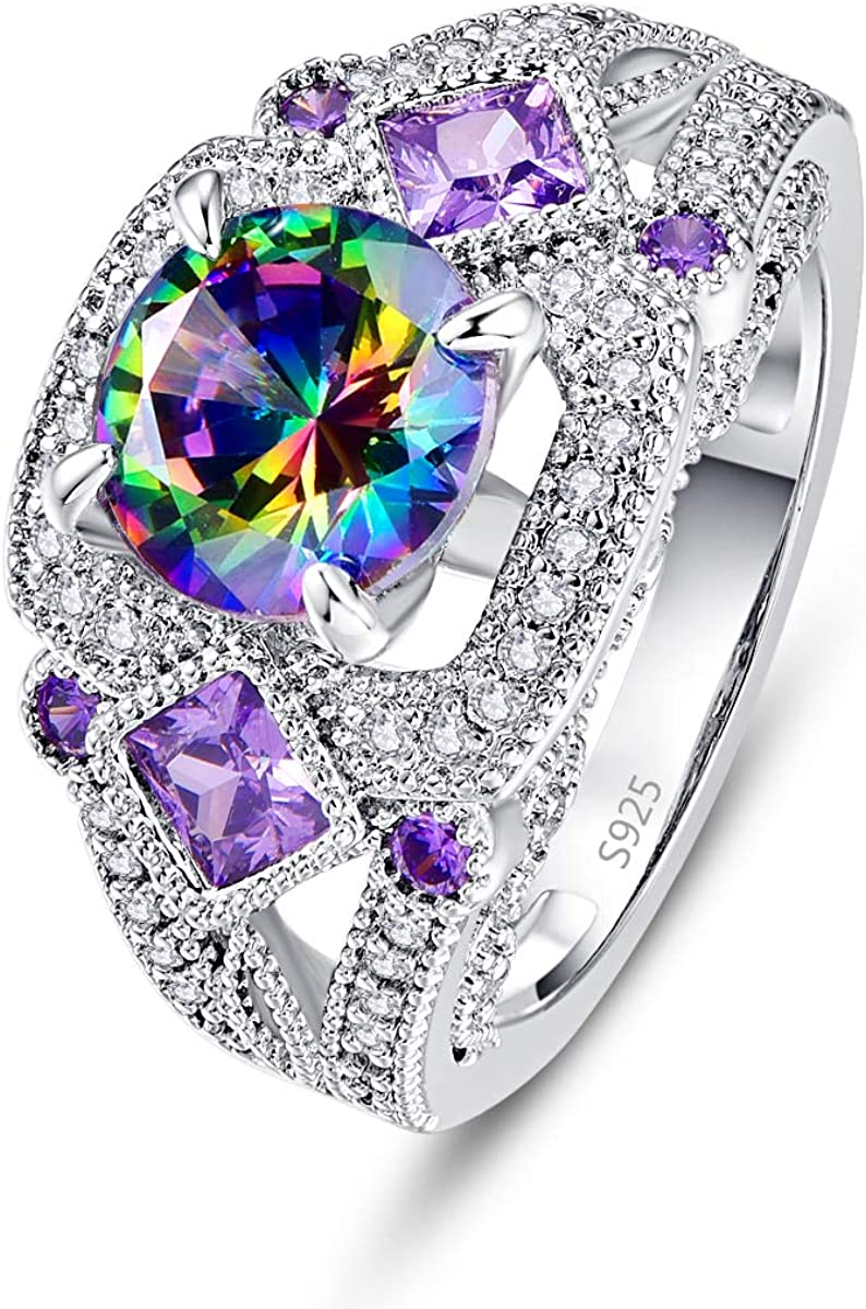 PAKULA 925 Sterling Silver Women Simulated Mystic Rainbow Topaz Ring Band