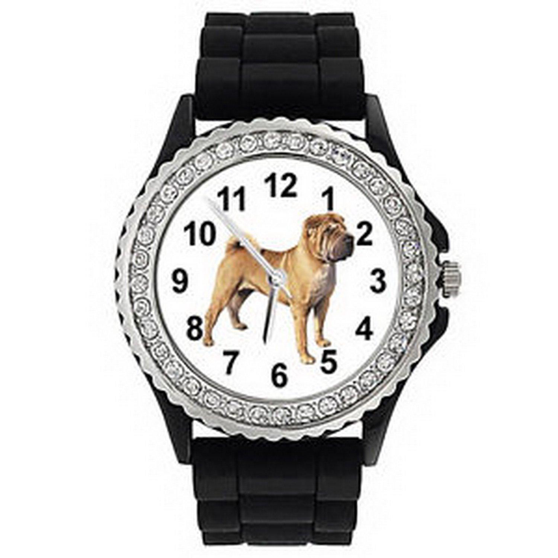jws1060 Shar Pei DogクリスタルラインストーンメンズレディースJelly Silicone Quartz Watch B01N9J8OTU