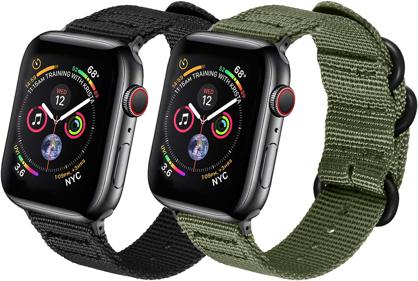 Watpro Compatible with Apple Watch Band 38mm 40mm 42mm 44mm Women Men Nylon Rugged Replacement iWatch Band Military-Style Buckle Grey Adapters for Sport Series 5 4 3 2 1 (2-Black+Army Green,)