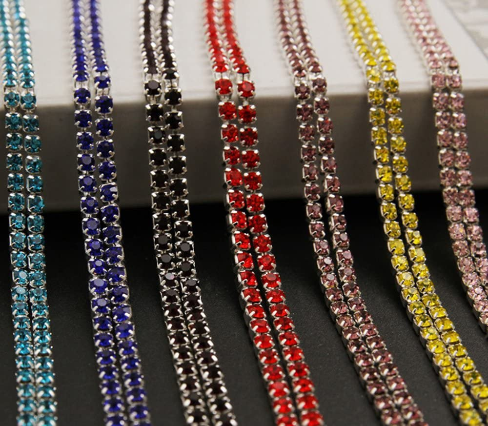 Purple-Silver Chain USIX 10 Yards Crystal Rhinestone Close Chain Trimming Claw Chain Multi Size Color Rhinestone Chain for DIY Arts Craft Sewing Jewelry Making SS6//2.0MM