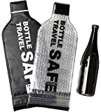 Wine Bottle Holder Travel Bag - 2 Pack Best for Air Travel - Reusable, Leak-Proof Carrier Tote - Soft Liquor Protector Sleeve Set - Portable Airline Drink Cover Case - Triple Air-Tight Seal Protection