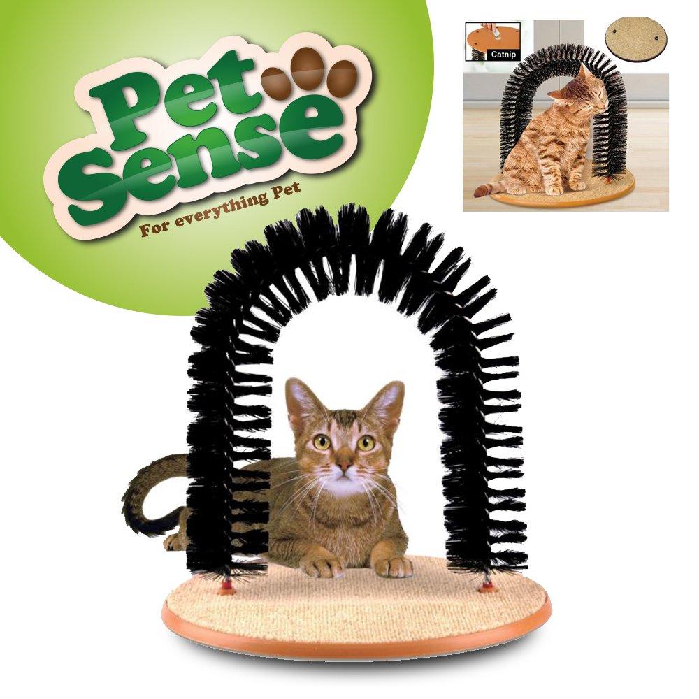 Arbre de massage et de grattage pour chat de Petsense - Forme d'arche - En poils doux et confortables - Herbe à chat incluse