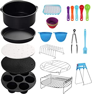 COLFULINE Air Fryer Accessories 14Pcs 8 Inch, Air Fryer Basket Baking Pan,for Phillips, Gowise Universal XXL Power Air Fryer Accessory Kit Fit All 4.5QT-6.8QT