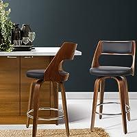 Bar Stools, Artiss 2 Pcs Wooden Leather Kitchen Stools, Swivel Bar Chairs Black