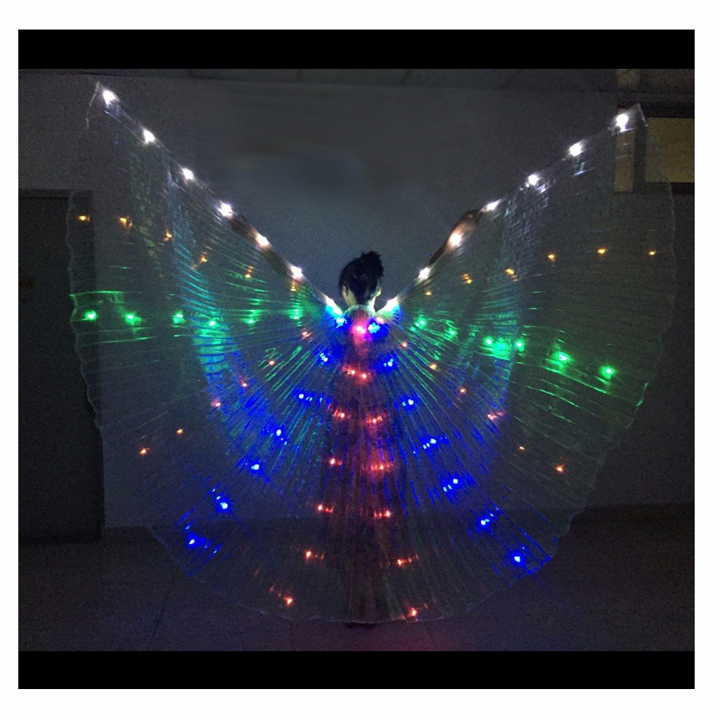 Egyptian Belly Dance LED Isis Wings Festival Club Light up Show Ali LED Isis Wings with Sticks One Size)