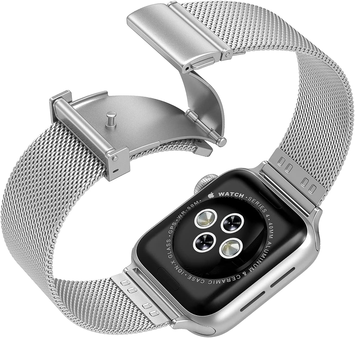 Compatible with Apple Watch Band 42mm 44mm,Upgraded Version Stainless Steel Bands Business Replacement iWatch Strap for Apple Watch Series 6/5/4/3/2/1/SE Sport Edition Women Men, Silver