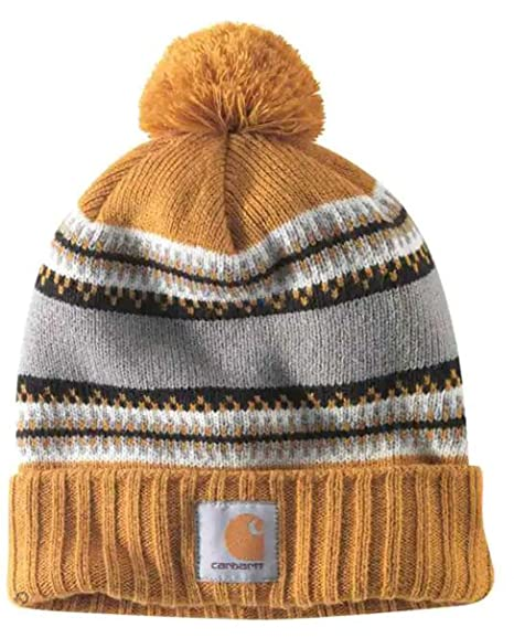 57a6381157 Carhartt Rexburg Hat Gold Rib Knit Hat Label on Front CH103258703-One Size   Amazon.co.uk  Clothing