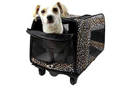dbest products Pet Smart Cart, Small, Leopard, Rolling Carrier With Wheels Soft Sided