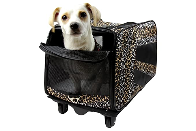 Amazon.com: dbest products Pet Smart Cart, Small, Leopard, Rolling Carrier With Wheels Soft Sided Collapsible Folding Travel Bag, Dog Cat Airline Approved ...