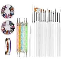Nail Art Brushes, Teenitor 3d Nail Art Paiting Polish Design Kit with 15 Nail gel Brushes, Nail Dotting Pen 5pcs, 12 Colors Nail Rinestones & 10 adhesive Nail striping tape for False Acrylic NailsNail