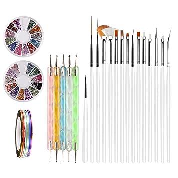 Nail Art Brushes, Teenitor 3d Nail Art Paiting Polish Design Kit With 15 Nail Gel Brushes, Nail Dotting Pen 5pcs, 12 Colors Nail Rinestones & 10 Adhesive Nail Striping Tape For... by Teenitor