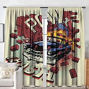 """Blackout Curtains for Bedroom Cars,Car Crash Accident in Brick Walls Illustration Eighties Pop Art Details Broken Theme Print,Multi,Thermal Insulated Darkening Panels for Cafe Windows 100""""x96"""""""