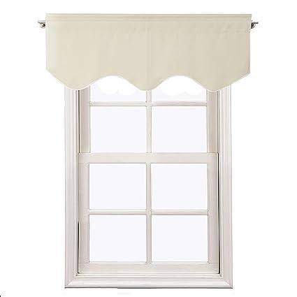 Aquazolax Window Treatments Curtain Valance Rod Pocket Top Scalloped  Valance Drapes for Bedroom Windows, 52\