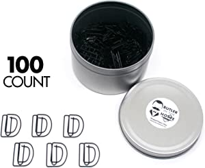Butler in the Home Pick Your Favorite A-Z Alphabet Letter or 0-9 Number - 100 Count Black Colored Paper Clips for Initials or Birthdate - Comes in Round Tin with Lid and Gift Box (Letter D)