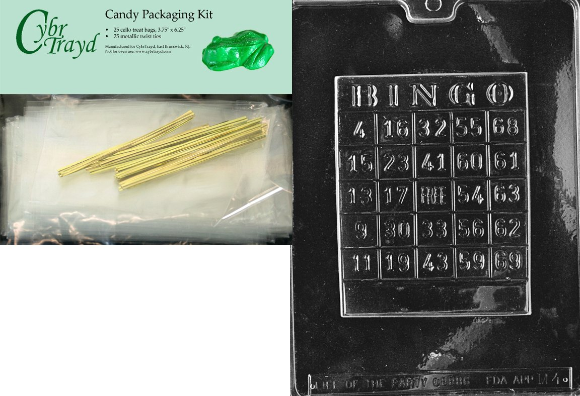 Cybrtrayd Bingo Card Miscellaneous Chocolate Candy Mold with Packaging Bundle of 25 Cello Bags, 25 Gold Twist Ties and Chocolate Molding Instructions by CybrTrayd