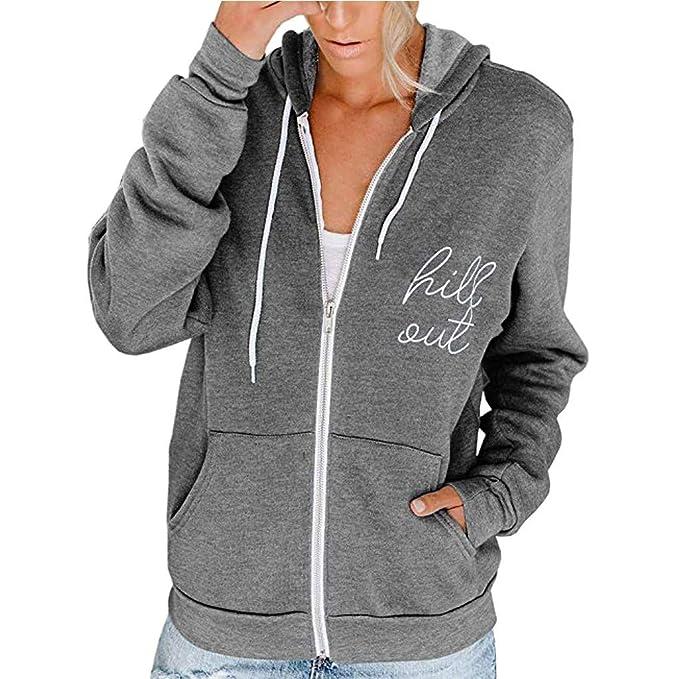 Damen Jacke Sweatjacke Langarm Hoodie Sweatshirt Pullover