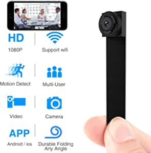 GXSLKWL Spy Hidden Camera, HD 1080P Hidden Camera Small Video Recorder Home Security Surveillance Cameras Covert Tiny Nanny Cam (Color : +8G Memory Card)