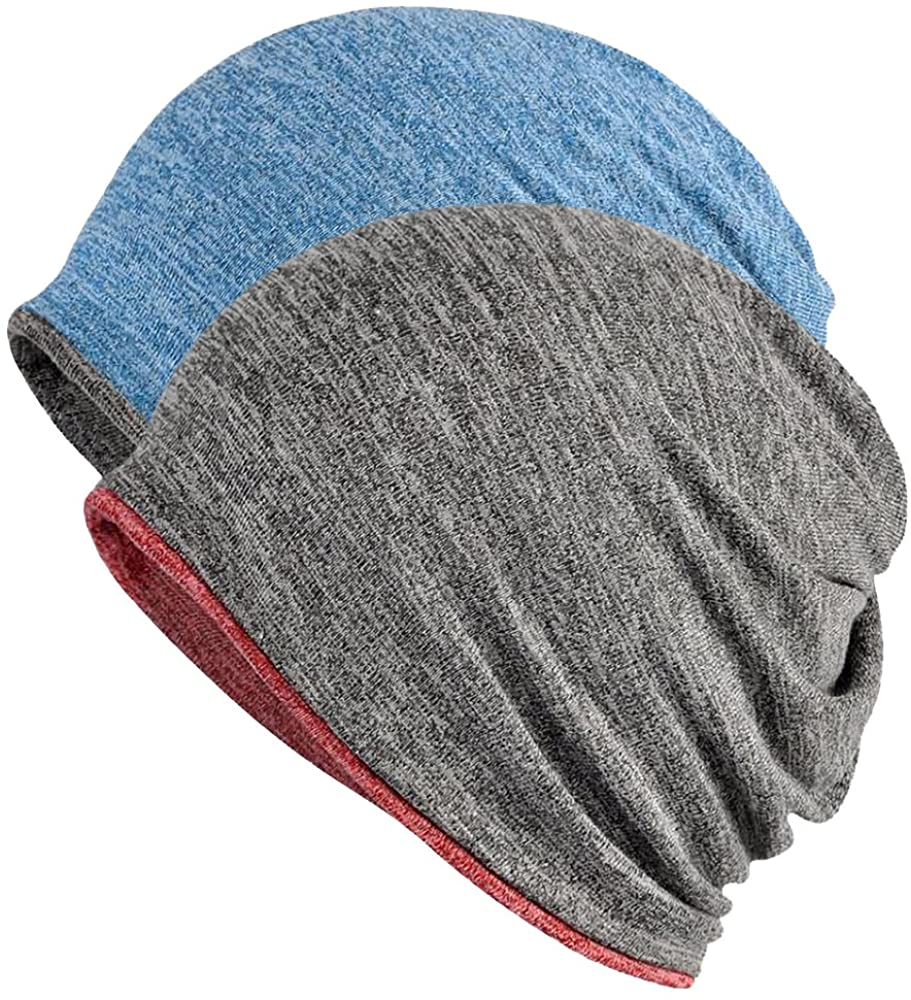 FORTREE 2 Pack Multifunction Slouchy Beanie for Jogging, Cycling (1+3): Clothing