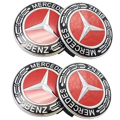 Replacement Wheel Center Caps Emblem Hubcaps 4pcs (Red): Automotive [5Bkhe0409765]