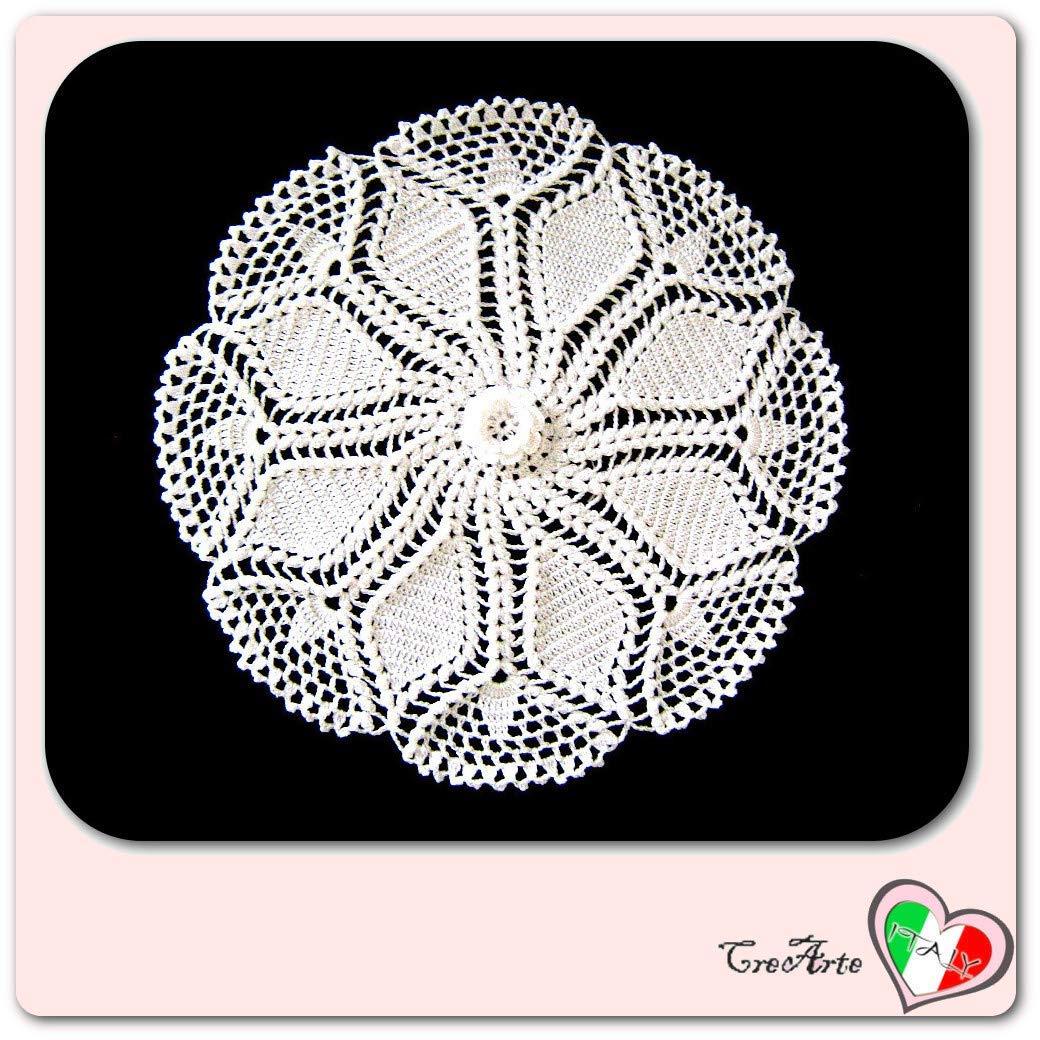 Tapete redondo blanco de ganchillo en algodón - Tamaño: ø 31 cm ...