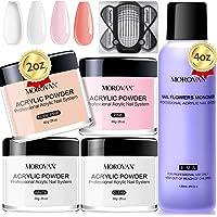 Morovan Acrylic Powder and Monomer Liquid Set - Professional Monomer Liquid 4oz Acrylic Powder 4 Colors Acrylic Nail…