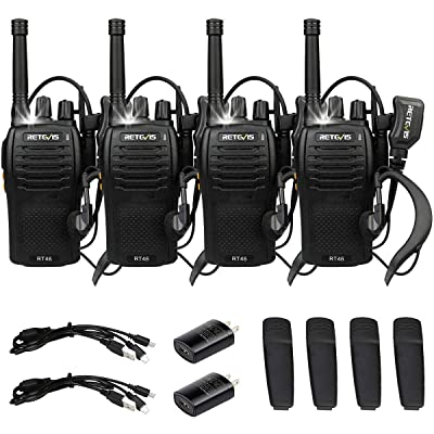 Retevis RT46 Walkie-Talkies Rechargeable Long Range FRS Radio Flashlight SOS Emergency Dual Power VOX Two-Way Radios with Headsets(4 Pack): Car Electronics