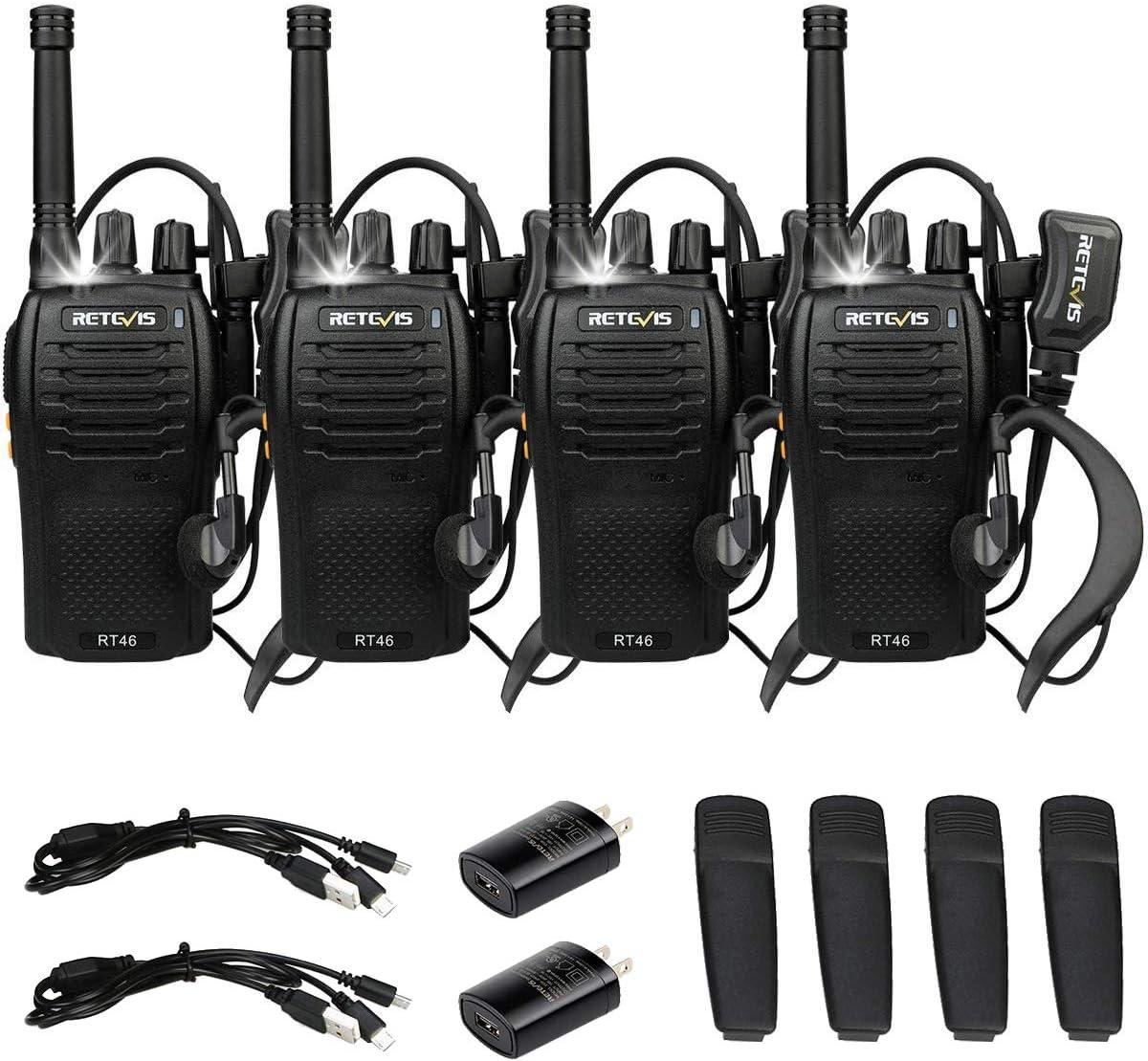 Retevis RT46 Walkie Talkie Rechargeable Long Range Two Way Radio with Earpiece Emergency Flashlight SOS Dual Power VOX 2 Way Radio Adult(4 Pack)