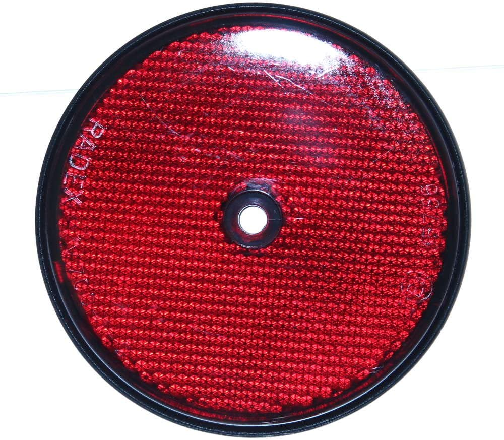 1 Reflektor 80mm Rund Anbau Rückstrahler Mit Loch Markierung Rot Lkw Kfz Trailer Anänger Neu Old Harvest Auto