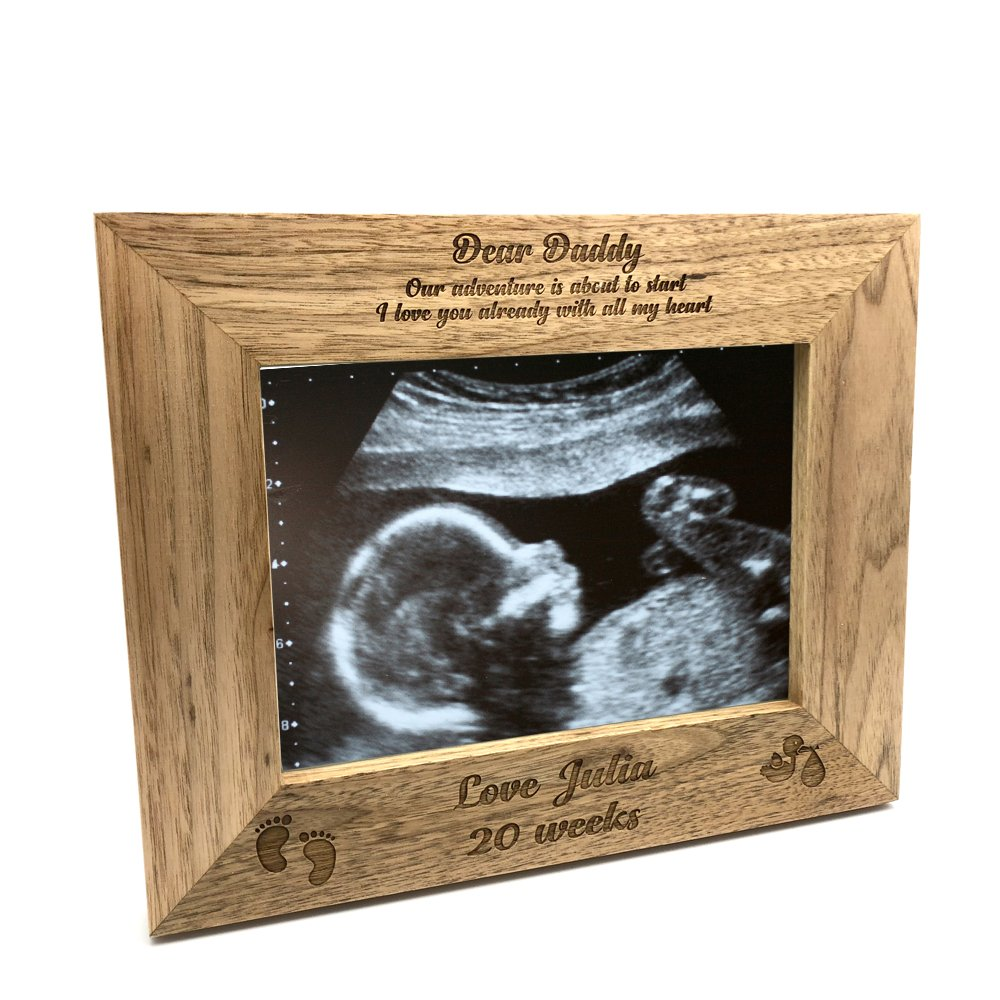 ukgiftstoreonline New Baby Pregnancy Scan Wooden Photo Frame Personalised Daddy Gift (4 x 6 Inch)