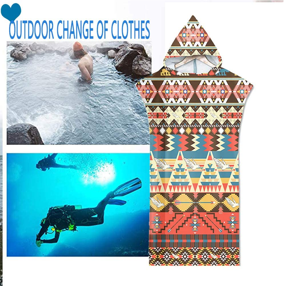 Surwin Adulto Unisex Bata Poncho Toalla de Microfibra para Poncho de Surf con Capucha Bata de Ba/ño Adultos de Secado r/ápido Manta de Buceo para Surf Nataci/ón