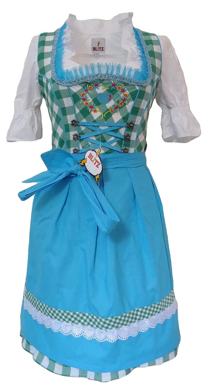 Blitz BT12 Dirndl 3 tlg. Trachtenkleid Kleid, Bluse, Schürze, ca. 90cm Größe: 34 bis 42 , Grün&Weiß&Türkis)