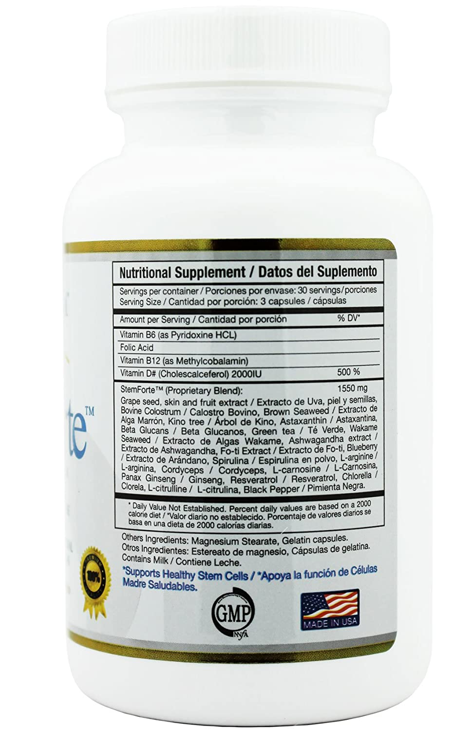 Amazon.com: Stemforte - 2 Bottles - 90 Caps - BEST Advance Stem Cell Nutrition - Promotes Natural Release of Adult Stem Cells for OVERALL WELL-BEING.
