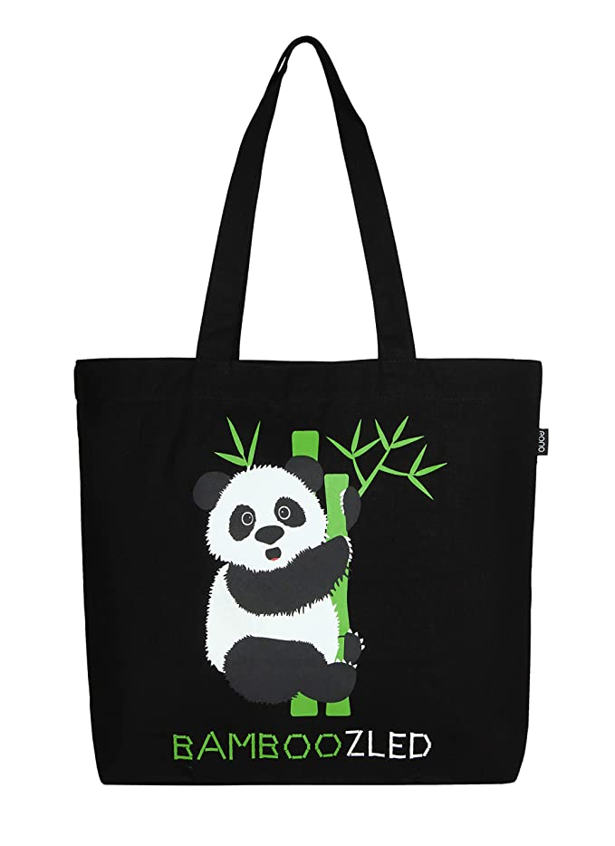 Eono Essentials 100% Cotton/Canvas, Reusable, Large Tote Bag Printed Bamboozled Panda (Black)