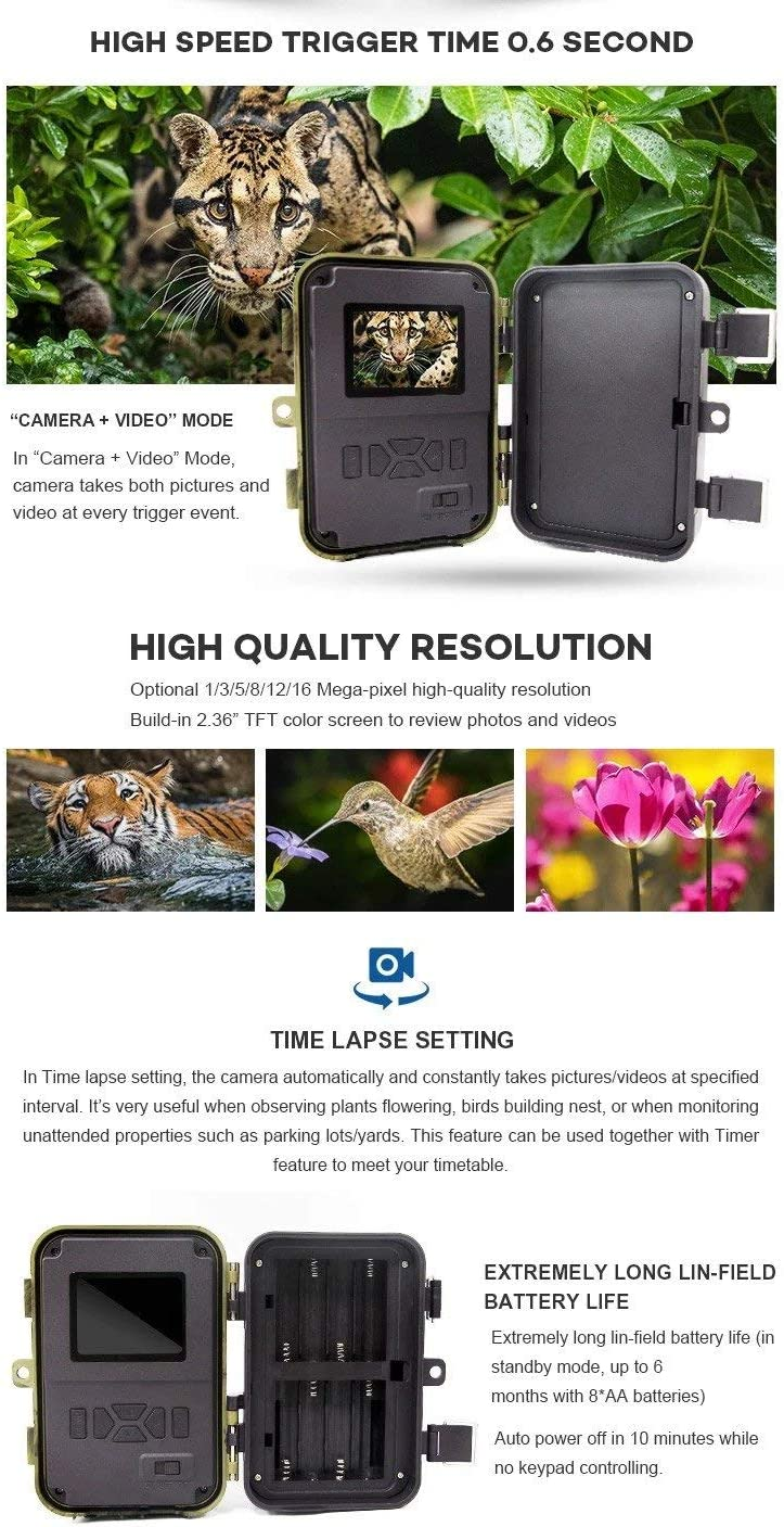 Trail Shot 2019 Advanced Trail Camera 16MP 1080p high Definition Hunting Camera for Deer, IP66 Waterproof Game Camera Night Vision Motion Sensor Camera Wide Angle View 2.4 LCD Color Display