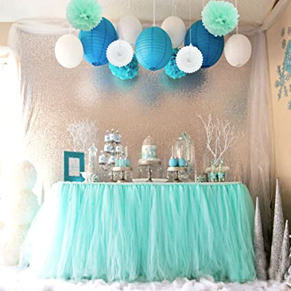 sopeace tissue pom poms flowers paper lanterns and 1 tutu table skirt for mermaids under the