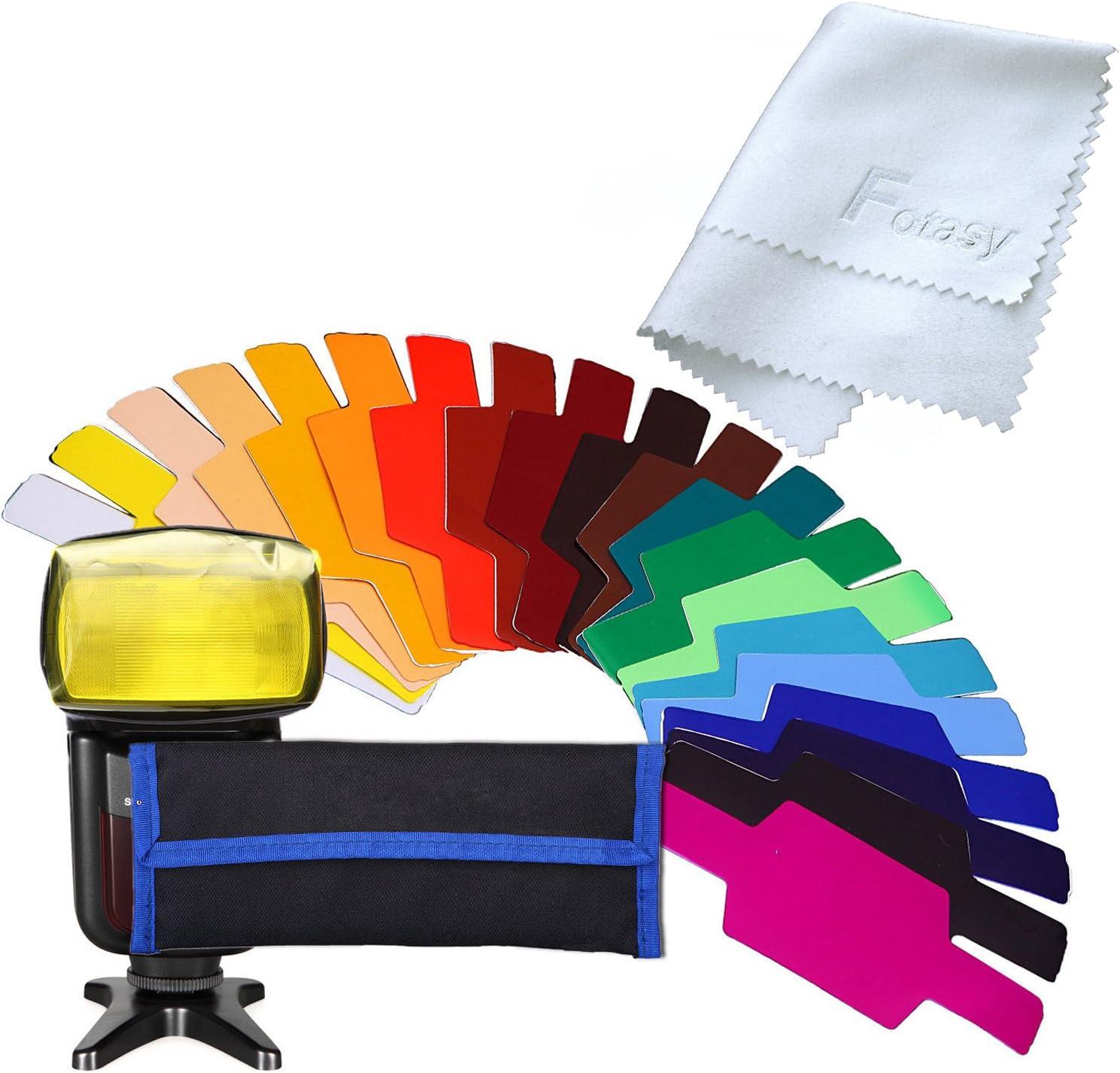w// Gel-Band attachment Fotasy Universal Flash Gels Lighting Filter 20 pcs Combination Kit for Photo Studio Strobe Flash Light