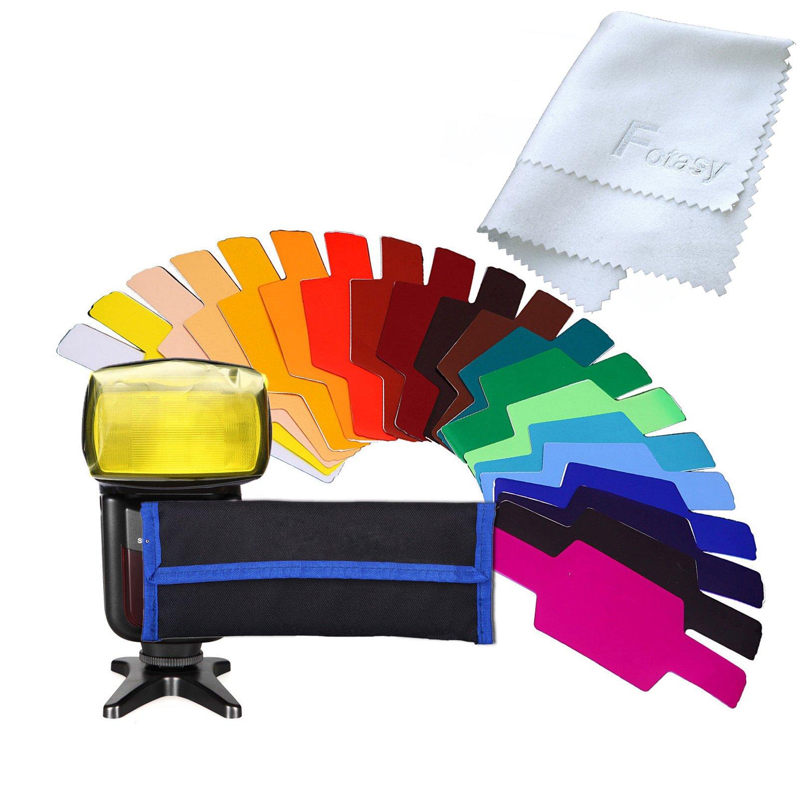 Fotasy Universal Flash Gels Lighting Filter, 20 pcs Combination Kit for Photo Studio Strobe Flash Light