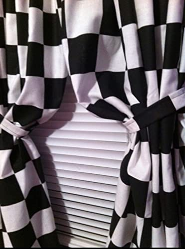 "Bedroom Boys Room Cars Checkered Flag Black and White 42""Wx60""L Curtain Panels Cotton FABRIC handmade"