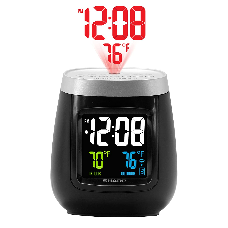Sharp Projecion Alarm Clock With Indoor And Outdoor Temperature(Wireless Sensor Inclided)