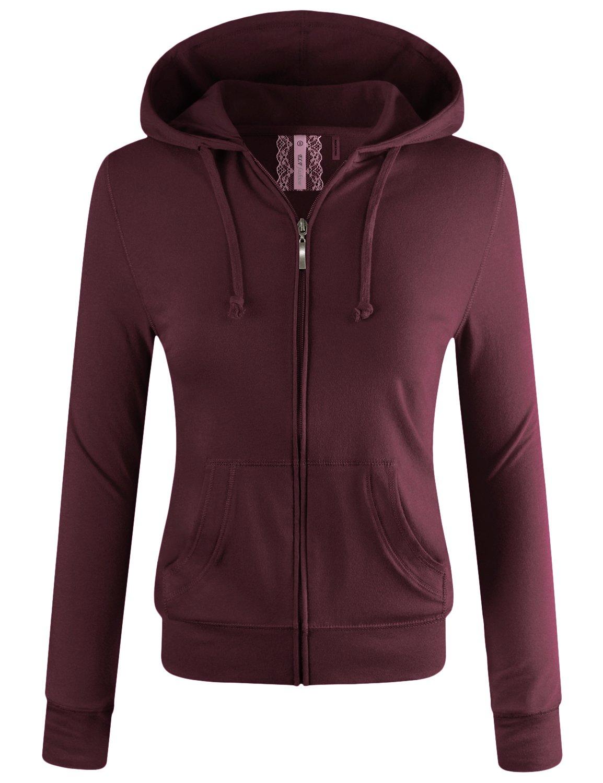 ELF FASHION Women Lightweight Cotton Hoodie Casual Long Sleeve Zip-up Jacket W/Kangaroo Pocket Plum 2XL