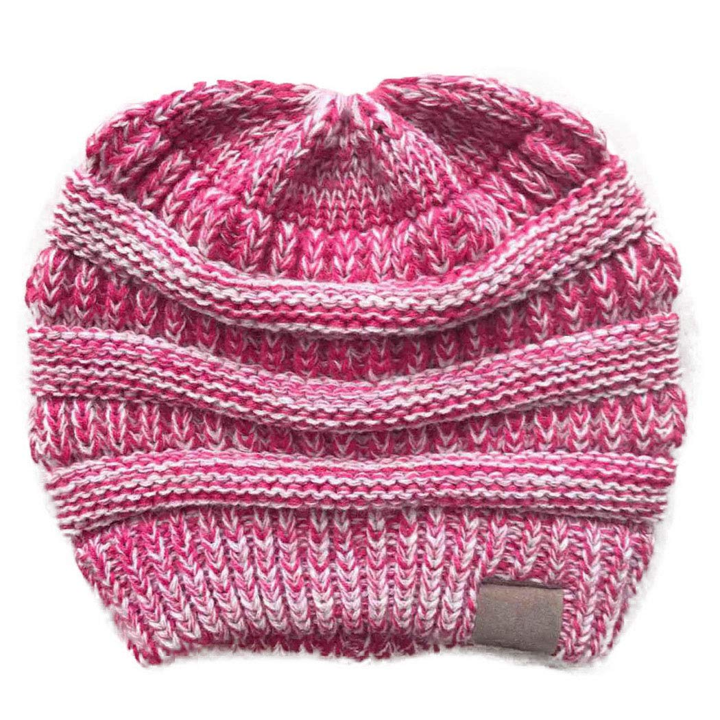 RIOLIFE Slouchy Beanie Hat Men Women Winter Warm Chunky Soft Cable Knit Cap (Rose Red)