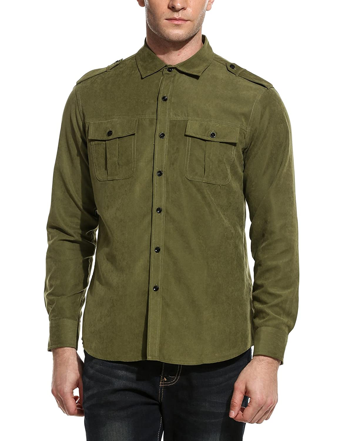 Coofandy Men's Casual Solid Long Sleeve Button Down Collar Shirt