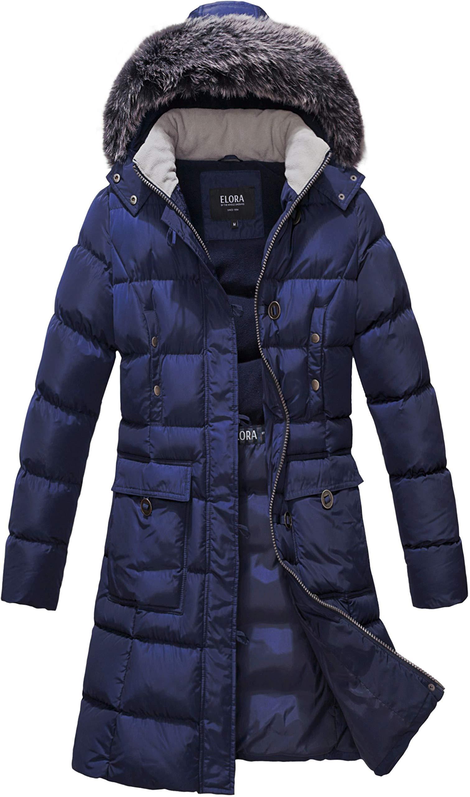 ELORA Women's Winter Puffer Mid Length Cargo Pocket Coat Fur Trim Removable Hood, Navy, Large by ELORA