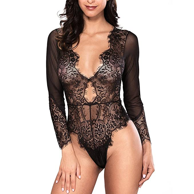 7824649e127 BOLUOYI Women's Hipster Panties,Lingerie Sexy Femme Taille Plus,Women Sexy  Lingerie Long Sleeve
