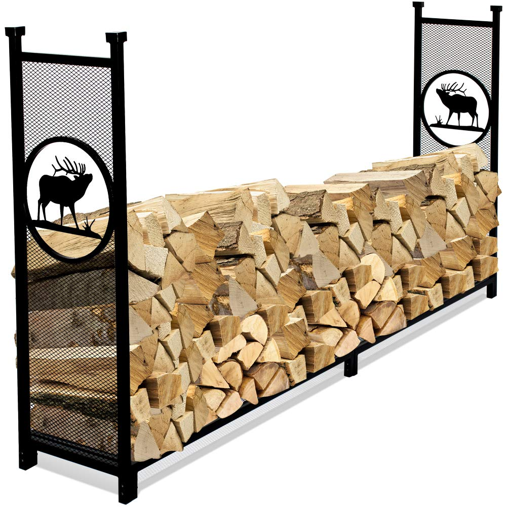 INNO STAGE Fire Wood Log Rack Holder for Firewood Pile Storage Outside Adjustable Fireplace Stand Stacking with Eye-catching Elk Design - 8' by INNO STAGE