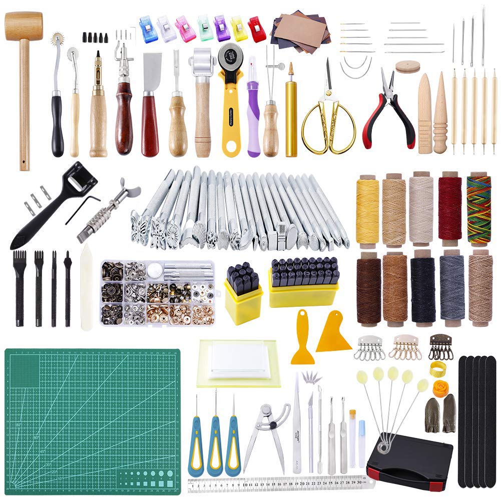 240Pcs Leather Tools, MIUSIE Leathercraft Working Tool Kit, with Number and Letter Stamp Set,Leather Stamps,Leather Rivets Tools,Swivel Knife for Leather Working,Leather Making,Leather Craft DIY