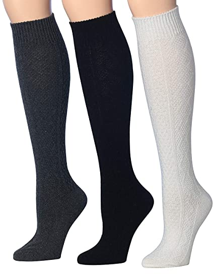 0044a02a830 Tipi Toe Women s 3-Pairs Ragg Marled Argyle Knee High Wool-Blend Boot  Socks