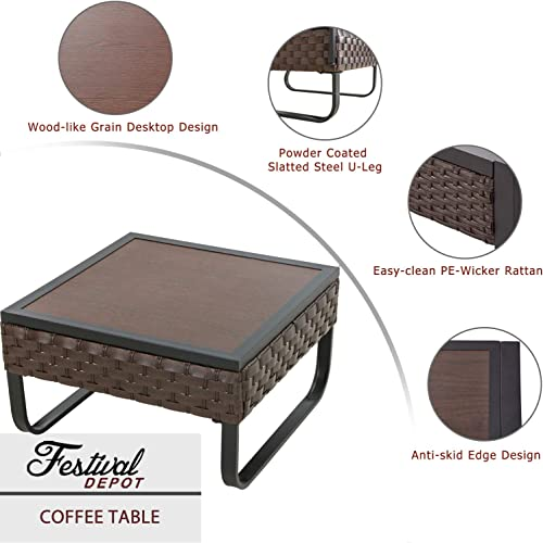 Festival Depot Coffee Outdoor Dining Furniture Bistro Side Patio Table Square Wicker Rattan Wood Grain Desktop with Side U Shaped Slatted Steel Leg Lawn Garden All Weather 23.6 L 23.6 W 13.7 H