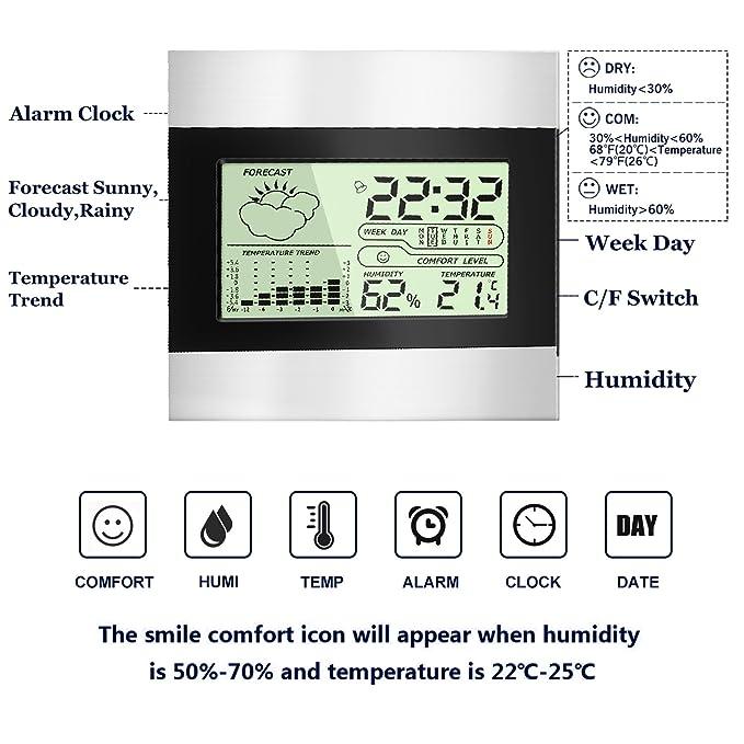Termómetro Higrómetro Digital Interior Exterior, Medidor Temperatura y Humedad, Función de Memoria, Grabadora de Max/Min (Plata)