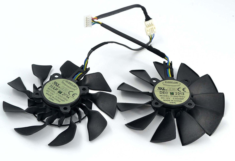 2Pcs//lot T129215SU 12V 0.5A 95mm 5Pin Grafikkartenl/üfter For GTX780//780TI R9 280//280X R9 290//290x GTX970 GTX980 Graphics Card Cooling Fan